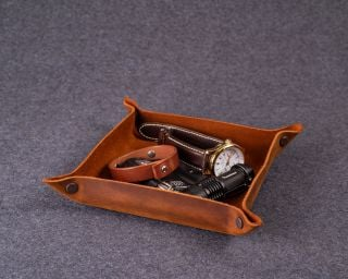 Personalized Leather Tray, M Size In Brown